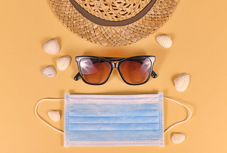 At the beach or the pool, sun cream and masks