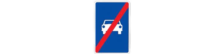 Fin de vía reservada para automóviles